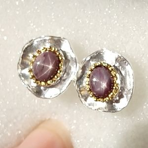 Gorgeous genuine natural star ruby earrings